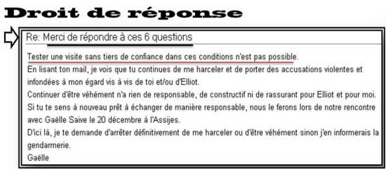 droit de réponse Gaëlle Dutordoir & Vincent Belot